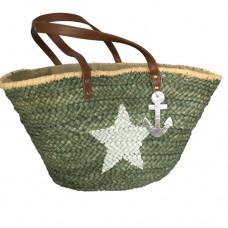 Strandtasche Ibiza Shopper khaki mit weißem Stern