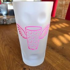 Dubbeglas Schorleglas 0,5L satiniert Ice mit Flügel in pink