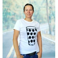 Damen T-Shirt weiß Motiv Dubbeglas schwarz