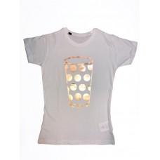 Damen T-Shirt white Motiv Dubbeglas rosegold