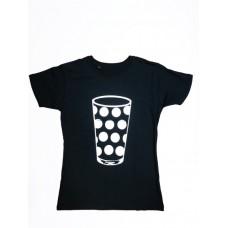 Damen T-Shirt black Motiv Dubbeglas WEISS