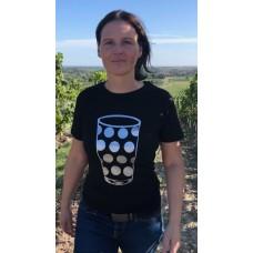 T-Shirt in Schwarz Rundhals Dubbeglas Silber  Pfälzer Shirt