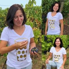 T-Shirt in Weiß mit V Ausschnitt Dubbeglas Gold Pfälzer Shirt