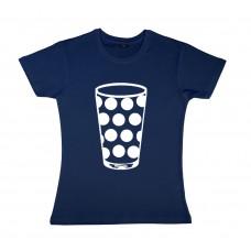 Damen T-Shirt navy Motiv Dubbeglas WEISS