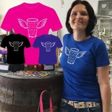 T-Shirt Dubbeglas mit Flügel Rundhals Damen blau