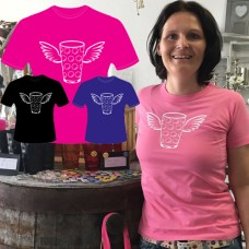 T-Shirt Dubbeglas mit Flügel Rundhals Damen rosa