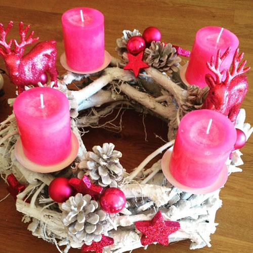 adventskranz fertig dekoriert in pink kerzenhalter wurzelkranz 34cm